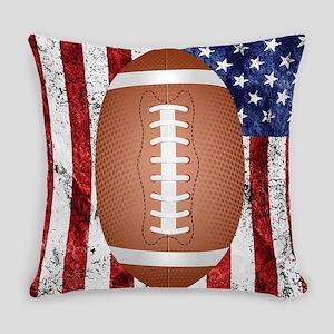 American football ball on flag Everyday Pillow