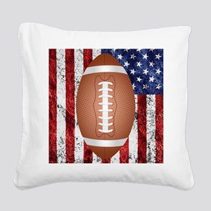 American football ball on fla Square Canvas Pillow