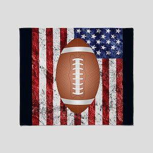 Football on american flag Throw Blanket