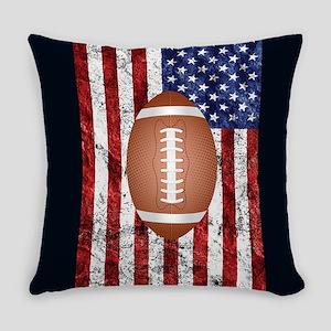 Football on american flag Everyday Pillow