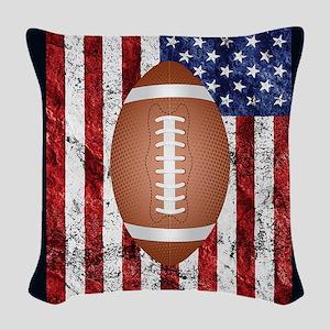 Football on american flag Woven Throw Pillow