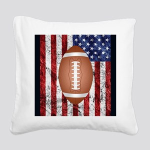Football on american flag Square Canvas Pillow