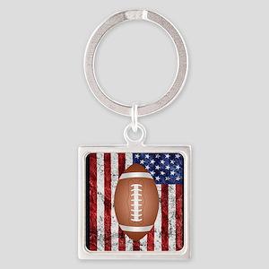 Football on american flag Keychains