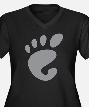 GNOME linux Women's Plus Size V-Neck Dark T-Shirt