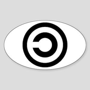 copyleft symbol Oval Sticker