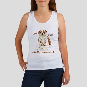 Bulldog Ate Homework Women's Tank Top