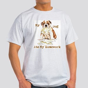 Bulldog Ate Homework Light T-Shirt