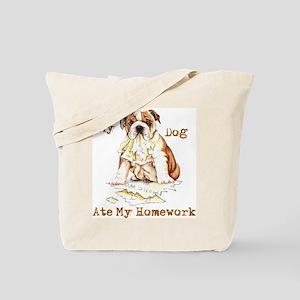 Bulldog Ate Homework Tote Bag