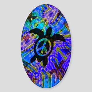 Peace Turtles Oval Sticker