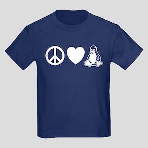 peace love linux Kids Dark T-Shirt