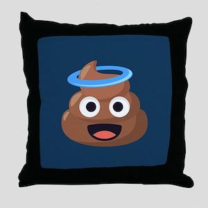 Halo Poop Emoji Throw Pillow