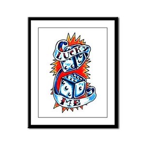 Lucky Me Dice Tattoo Framed Panel Print