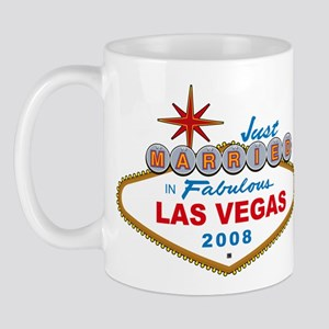 Just Married In Fabulous Las Vegas 2008 Sign Mug