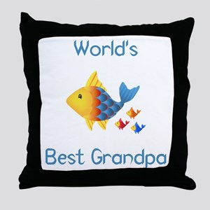 World's Best Grandpa (fish) Throw Pillow