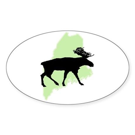 Go Green Maine Moose Oval Sticker