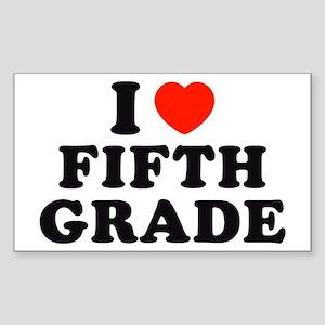 I Heart/Love Fifth Grade Rectangle Sticker