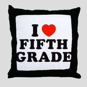 I Heart/Love Fifth Grade Throw Pillow