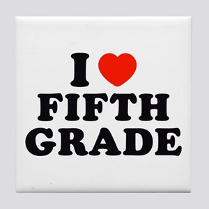 I Heart/Love Fifth Grade Tile Coaster