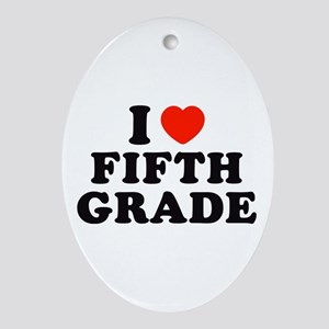 I Heart/Love Fifth Grade Oval Ornament