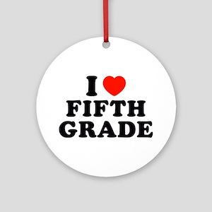 I Heart/Love Fifth Grade Ornament (Round)