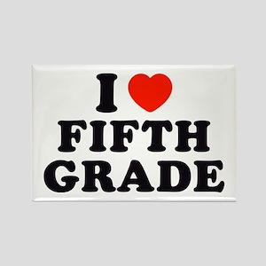 I Heart/Love Fifth Grade Rectangle Magnet