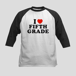 I Heart/Love Fifth Grade Kids Baseball Jersey