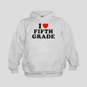 I Heart/Love Fifth Grade Kids Hoodie