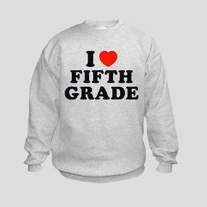 I Heart/Love Fifth Grade Kids Sweatshirt