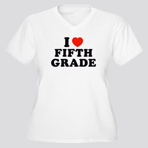 I Heart/Love Fifth Grade Women's Plus Size V-Neck