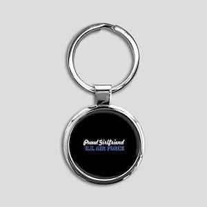 Proud Girlfriend USAF Round Keychain