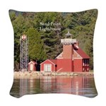 Sand Point Lighthouse Baraga Woven Throw Pillow