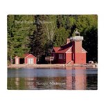 Sand Point Lighthouse Baraga Throw Blanket