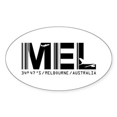 Melbourne AirportCode Australia MEL Oval Decal