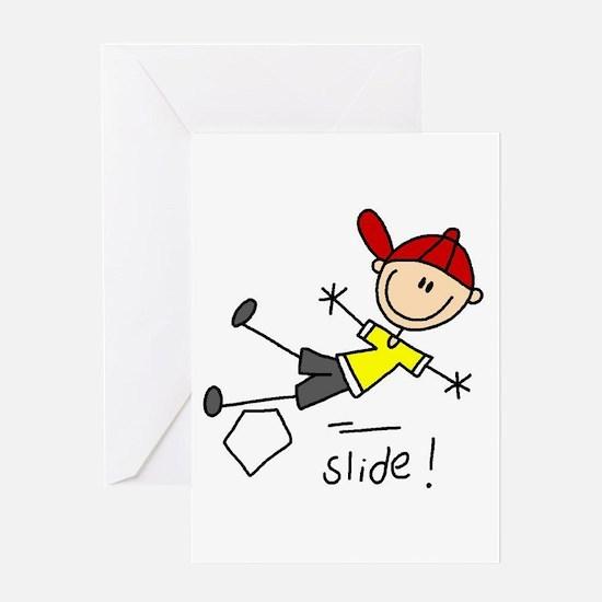 Girls Baseball Dive Greeting Card