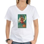 Witch and Owl Women's V-Neck T-Shirt