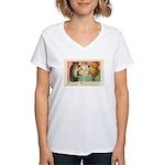 Girl Owl & Pumpkin Women's V-Neck T-Shirt
