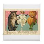 Girl Owl & Pumpkin Tile Coaster