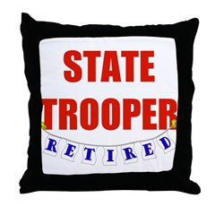 Retired State Trooper Throw Pillow