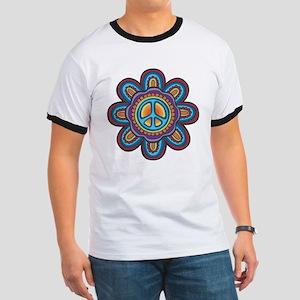 Hippie Peace Flower Ringer T