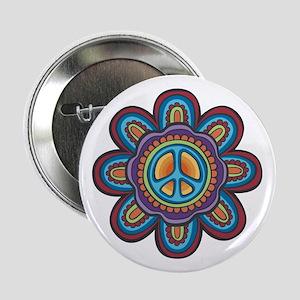 "Hippie Peace Flower 2.25"" Button"