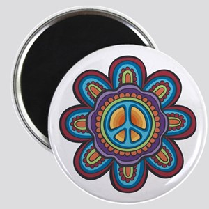 Hippie Peace Flower Magnet