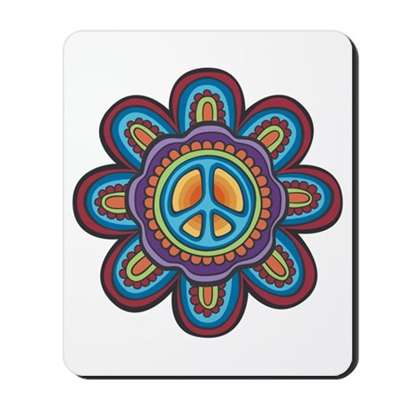 Hippie Peace Flower Mousepad