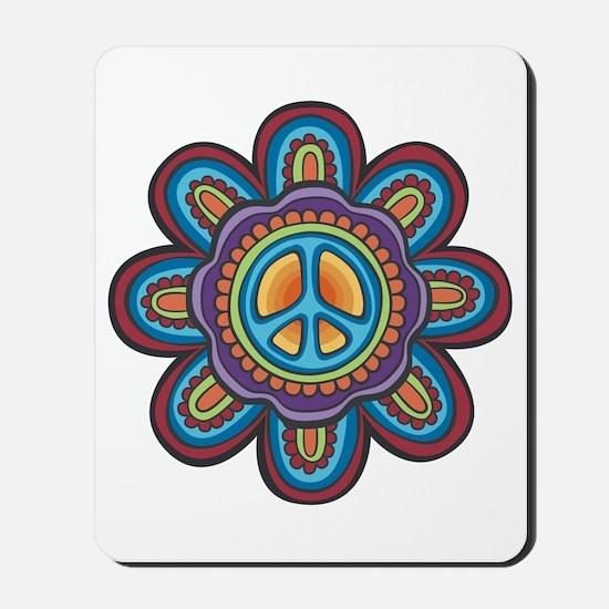 Hippie Peace Flower Mousepad