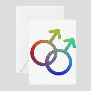 Rainbow Double Male Symbol Greeting Cards (Package