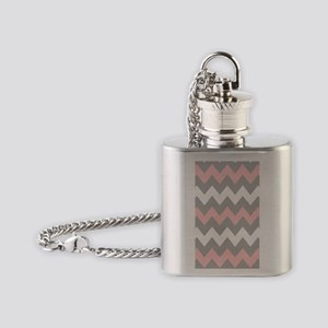 Pink And Gray Chevron Stripes Flask Necklace