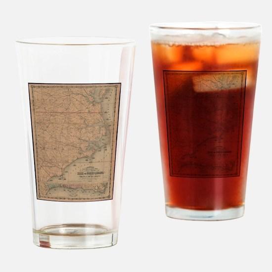 Vintage Map of Eastern North Caroli Drinking Glass