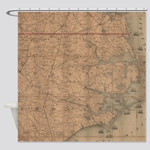 Vintage Map of Eastern North Caroli Shower Curtain