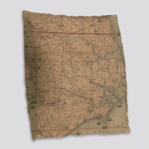 Vintage Map of Eastern North C Burlap Throw Pillow