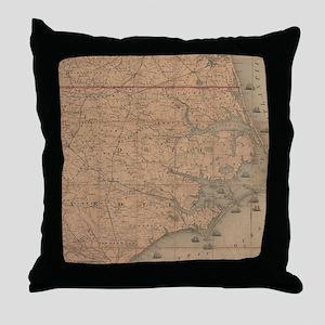 Vintage Map of Eastern North Carolina Throw Pillow