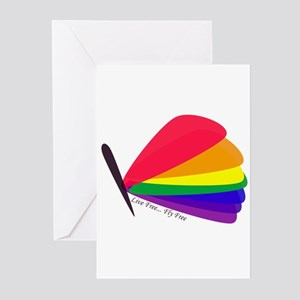 Rainbow Pride Flag Butterfly Greeting Cards (Packa